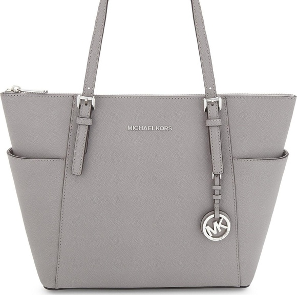 0d104acf585c Michael Kors Bags | Pearl Gray Leather Jet Set Tote | Poshmark